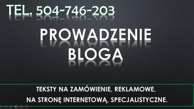 Napisanie artykułu, na bloga cennik, tel. 504-746-203. Prowadzenie bloga.  Ile kosztuje usługa prowadzenia bloga?