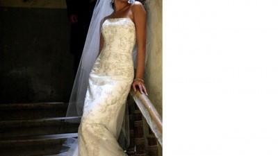 Niepowtarzalna suknia z  trenem z kolekcjii Herm's 2008, delikatna rybka