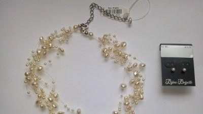 NOWY!!! Śliczny naszyjnik z perłek + kolczyki