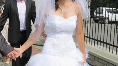 Oryginalna, piękna, biała jak nowa suknia ślubna 36/38 jak nowa!