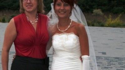 Oryginalna Sophia, roz.36 plus welon, rękawiczki, róża do włosów
