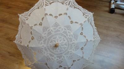 parasolka ślubna koronkowa retro