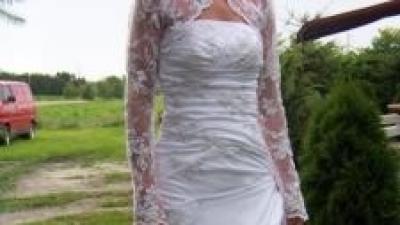Perłowo-koronkowa Suknia ślubna madeira