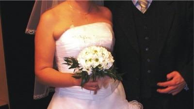 piękna biała sukienka (gorset+spódnica) uniwersalny rozmiar