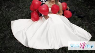 Piękna klasyczna suknia ślubna+ koronkowe bolerko