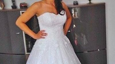 Piękna śnieżnobiała suknia ślubna roz 36-38