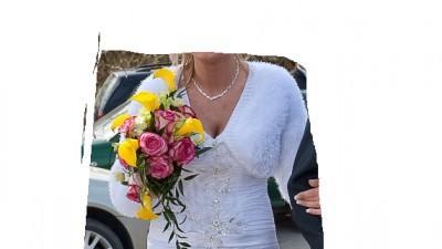 Piękna sukienka ślubna z trenem