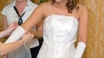 Piękna suknia ślubna biała.