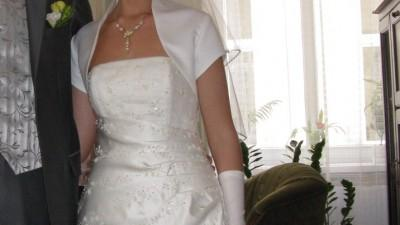 Piękna suknia ślubna, perłowa rozmiar 38