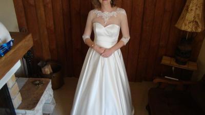 Piękna suknia ślubna w kolorze ecru roz. 36