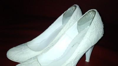 Piękne buty ślubne koronka Mark shoes