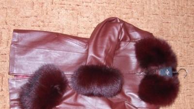 Piękny bordowy płaszcz skóra