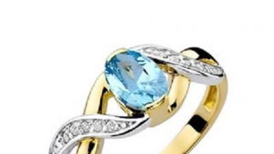 Pierścionek żółte złoto z topazem i diamentami BD-W28