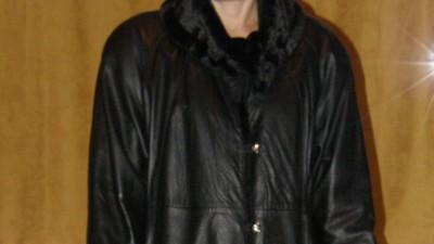 Płaszcz skórzany, czarny