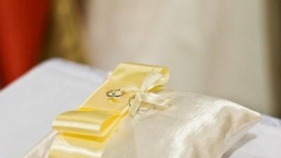 poduszeczka na obrączki satynowa złota 15x15