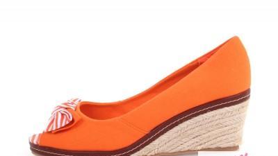 Pomarańczowe koturny peep toe