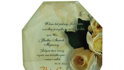 Prezent na Jubileusz Małżeństwa z personalizacją Trofeum Szklane