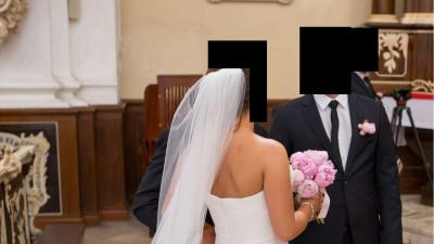 PRONOVIAS LEINA 36 stan ideany suknia ślubna pióra