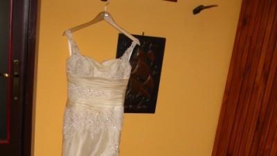 Pronovias Oleaje 34-38 w idealnym stanie z welonem z Madonny, piękna ecru