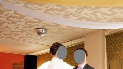 Przepiękna lawendowo-biała suknia ślubna