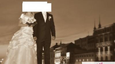 Przepiękna suknia ślubna ecru - koronka