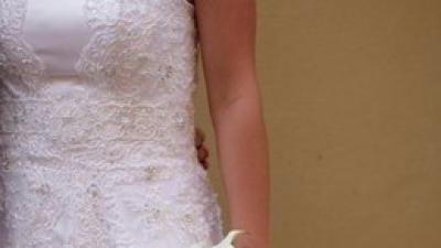 Przepiękna suknia ślubna z koronką! GRATISY!