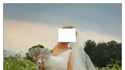 przepiękna, wręcz zachwycająca suknia ślubna w stylu greckim, empire