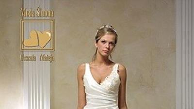 Prześliczna delikatnie zdobiona koronką suknia ślubna kolekcji U.Mateja