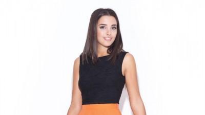 Rozkloszowana Spódnica do kolan Pomarańczowa S-XL