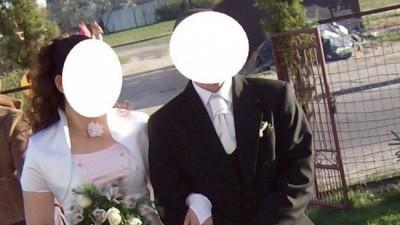 RÓŻOWO BIAŁA skunia ślubna