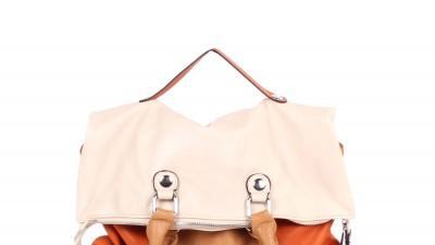 Składana pomarańczowo kremowa torebka