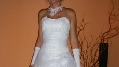 Śliczna , biała suknia ślubna