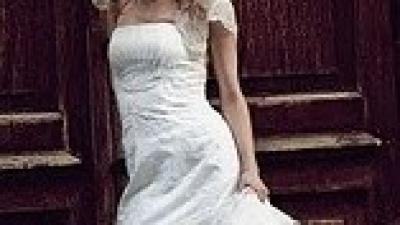Śliczna koronkowa suknia ślubna w kolrze śmietankowym 34/36