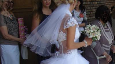 Śliczna suknia ślubna biała, jednoczęściowa