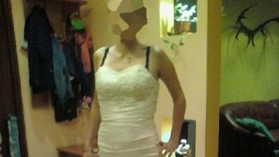 Śliczna suknia ślubna kolor e cri (36/38) !!