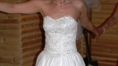 Śliczna suknia ślubna r. 38/40, w. 170-175cm + GRATISY