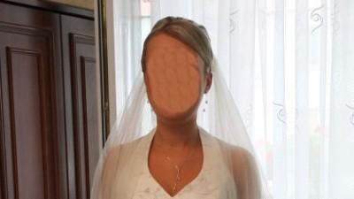 Śliczna suknia ślubna, rozmiar 38, w kolorze śmietankowym + GRATIS.