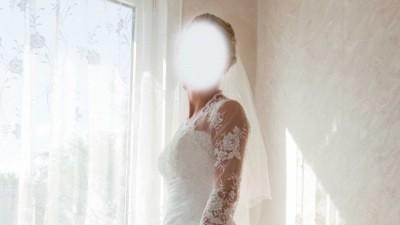 śliczna suknie ecru z długim trenem