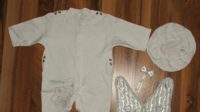 Śliczne tanie ubranko do chrztu dla chłopca roz.68