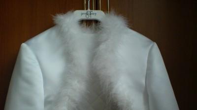 Ślubna kurteczka, bolerko OCIEPLANE, białe, 36-38, kolekcja 2011
