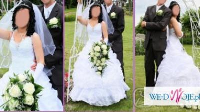Ślubna Suknia Biała Księżniczka - kwiatowy gorset