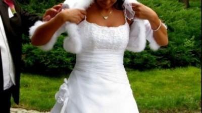 Śnieżnobiała sukienka ślubna