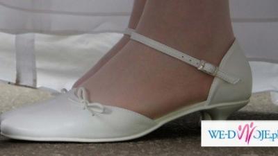 Sprzedam białe buciki ślubne roz.39 na 3,5 cm obcasie