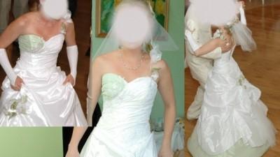 sprzedam biało-pistacjową oryginalną suknię ślubną