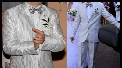 Sprzedam biały szary srebrny slubny garnitur  r 52
