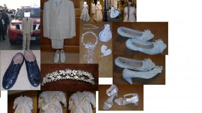 sprzedam garnitur, sukienki i dodatki komunijne