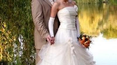 """Sprzedam suknię ślubną """"Fantazja"""" w kolorze ecru z dodatkami złotego"""