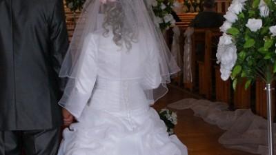 SPRZEDAM suknię ślubną jednoczęściową z trenem  (biała)