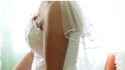 *Sprzedam suknię ślubną-rozm.42, ecru, tiulowa*