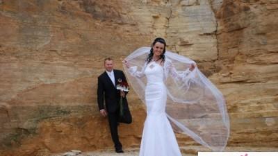Sprzedam suknię ślubną w kształcie rybki + bolerko z koronki